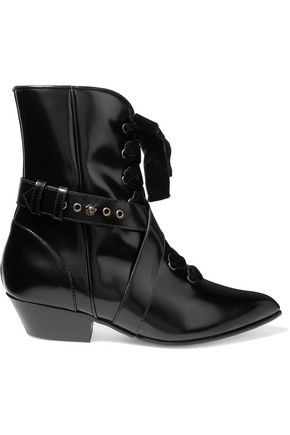 PHILOSOPHY di LORENZO SERAFINI Lace-up velvet-trimmed glossed-leather ankle boots