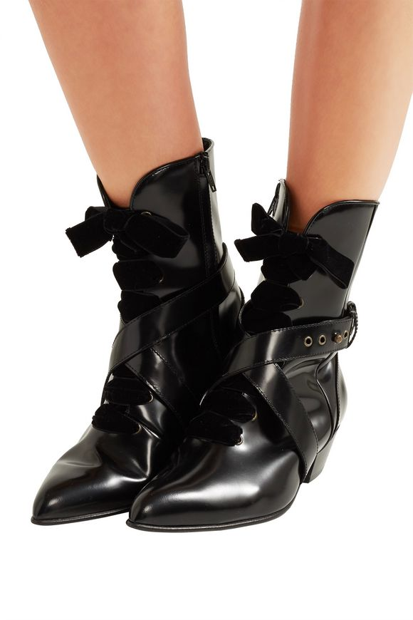 Lace-up velvet-trimmed glossed-leather ankle boots | PHILOSOPHY di LORENZO  SERAFINI | Sale up to 70% off | THE OUTNET