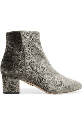 AQUAZZURA Baroque embossed velvet ankle boots