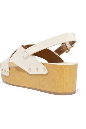 SAM EDELMAN Bentlee wood-trimmed leather sandals