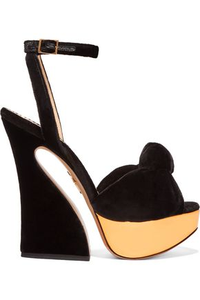 CHARLOTTE OLYMPIA Vreeland velvet and metallic leather platform sandals