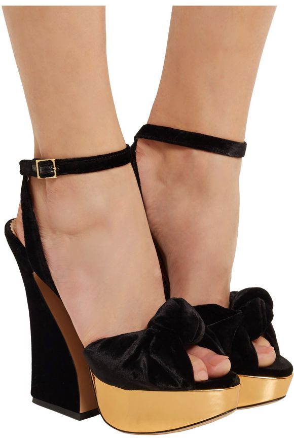 Vreeland velvet and metallic leather platform sandals | CHARLOTTE OLYMPIA | Sale  up to 70% off | THE OUTNET
