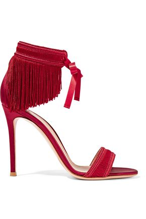 GIANVITO ROSSI Fringed satin sandals