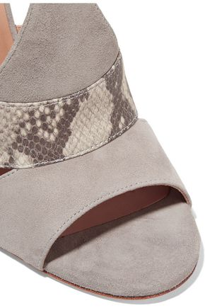 HALSTON HERITAGE Connie snake effect-trimmed suede sandals