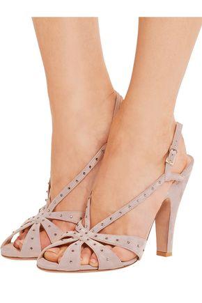 VALENTINO Crystal-embellished suede slingback sandals