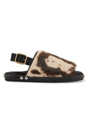 MARNI Fussbett leather-trimmed printed goat hair sandals
