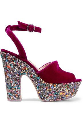 SOPHIA WEBSTER Havisham embellished velvet platform sandals
