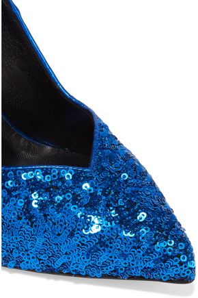 SAINT LAURENT Sequined textured-leather pumps