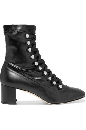 CHELSEA PARIS Malika studded lace-up leather ankle boots