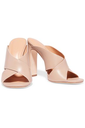 HALSTON HERITAGE Crystal leather mules