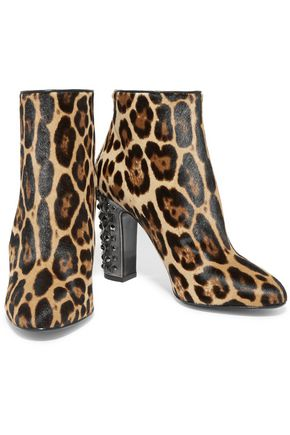 DOLCE & GABBANA Embellished leopard-print calf hair boots