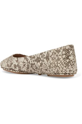 TORY BURCH Minnie snake-effect leather ballet flats