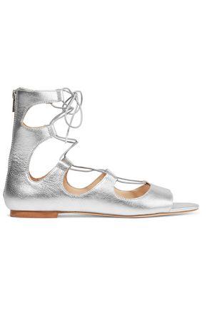 LOEFFLER RANDALL Dani lace-up metallic leather sandals