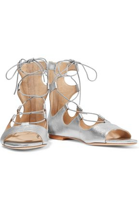 LOEFFLER RANDALL Dani lace-up metallic leather sandals