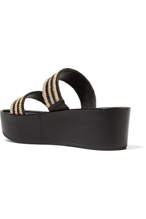 LOEFFLER RANDALL Luna raffia-trimmed leather sandals