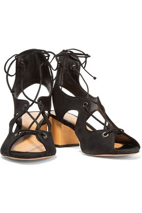 SCHUTZ Lace-up nubuck sandals