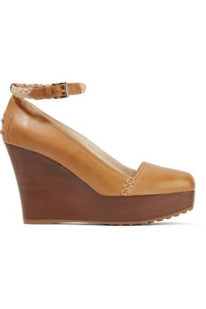 TOD'S Leather wedge pumps