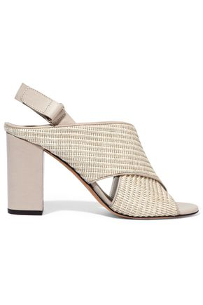 VINCE. Faine leather-trimmed woven jute sandals
