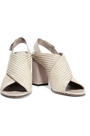 VINCE. Faine leather-trimmed woven jute sandals