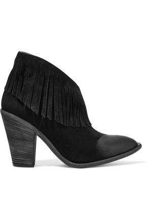 GIUSEPPE ZANOTTI Fringed coated suede ankle boots