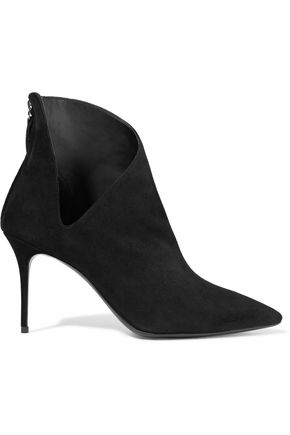 GIUSEPPE ZANOTTI Cutout suede ankle boots