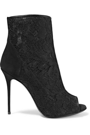 GIUSEPPE ZANOTTI Suede-paneled corded lace and mesh ankle boots