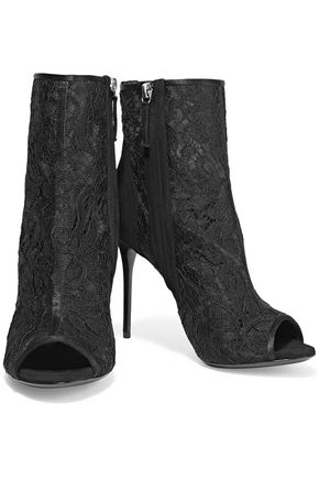 GIUSEPPE ZANOTTI DESIGN Suede-paneled corded lace and mesh ankle boots