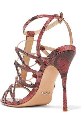 SCHUTZ Floppy snake-effect leather sandals