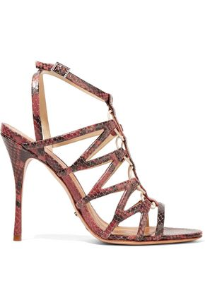 SCHUTZ Floppy snake-effect leather sandals