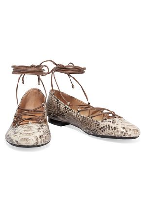 SCHUTZ Snake-effect leather ballet flats