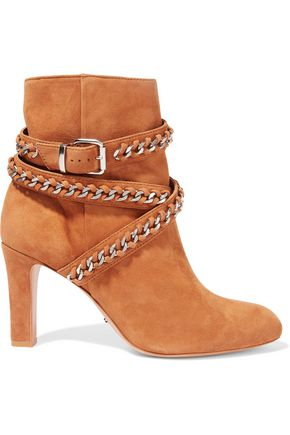 SCHUTZ Chain-embellished suede ankle boots