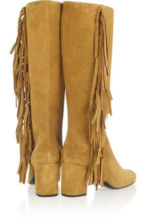 SAINT LAURENT Fringed suede boots