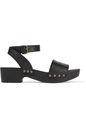 TOMAS MAIER Studded embossed leather platform sandals