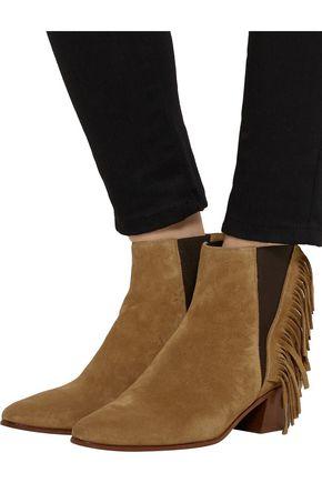 SAINT LAURENT Fringed suede ankle boots