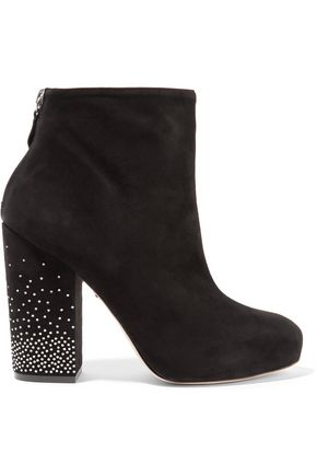ISA TAPIA Argon embellished suede ankle boots