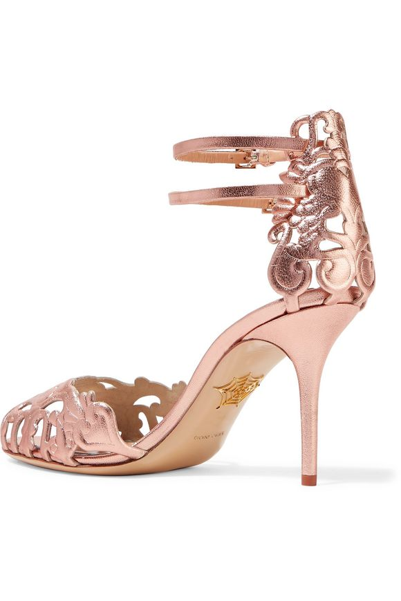 Margherita laser-cut metallic leather sandals | CHARLOTTE OLYMPIA | Sale up  to 70% off | THE OUTNET