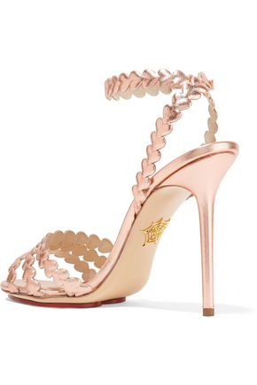 CHARLOTTE OLYMPIA I Heart You laser-cut metallic leather sandals