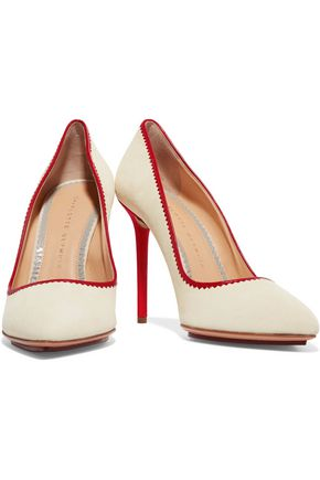 CHARLOTTE OLYMPIA Tara leather-trimmed suede pumps