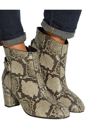 NEWBARK Sabrina glossed snake-effect leather ankle boots