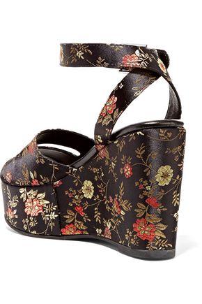 NEWBARK Maggie embroidered satin platform sandals