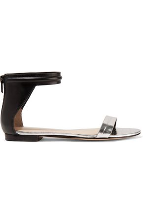 3.1 PHILLIP LIM Martini paneled leather and metallic croc-effect leather sandals