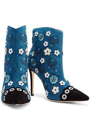 ISA TAPIA Rumba embroidered suede ankle boots