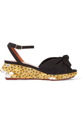 CHARLOTTE OLYMPIA Panthera suede and enamel wedge sandals