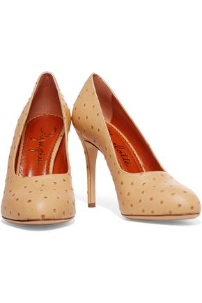CHARLOTTE OLYMPIA Jacqueline ostrich-effect leather pumps