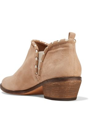 SCHUTZ Corinne leather-trimmed suede ankle boots