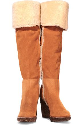 SCHUTZ Dahna shearling-lined suede wedge knee boots