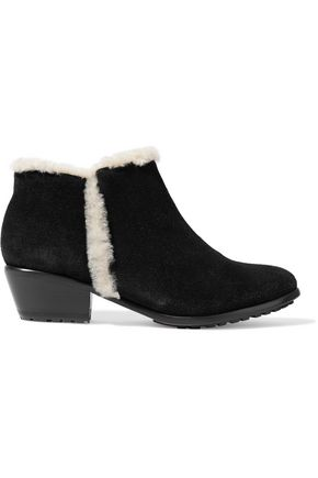 SCHUTZ Champ shearling-trimmed suede ankle boots