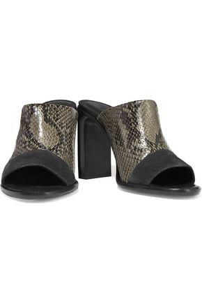 RAG & BONE Tristan snake-effect leather mules