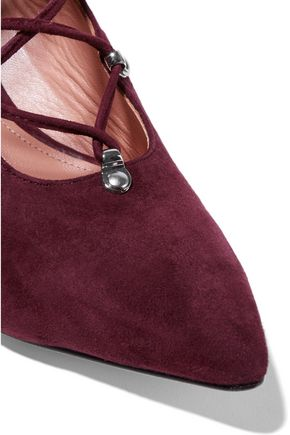 SIGERSON MORRISON Wing lace-up suede pumps