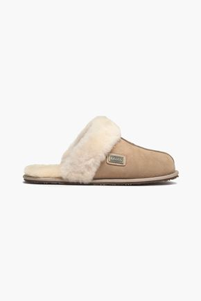 AUSTRALIA LUXE COLLECTIVE Leather-trimmed shearling slippers
